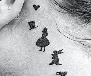 alice, tattoo, and rabbit image