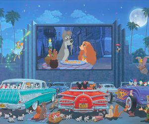 art, disney, and drive in movies image