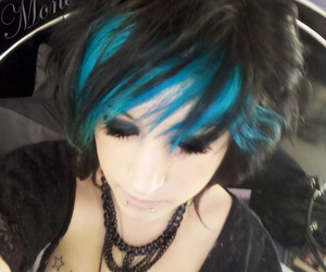 blue hair, girl, and lip piercing image