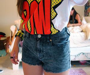 girl, pow, and shorts image