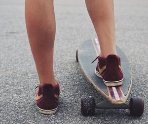 girl, leg, and longboard image