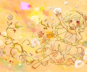 anime, chibi, and flowers image