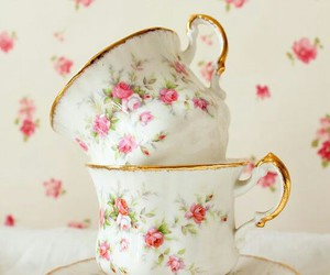 dishes, floral, and pink image