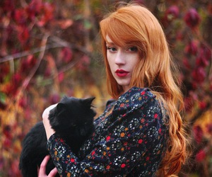 cat and redhead image