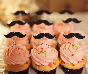 cupcake, pink, and mustache image