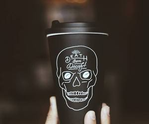 black, coffee, and skull image
