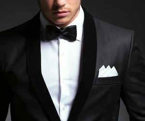 suit, black, and man image