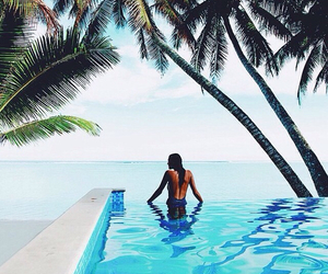 girl, pool, and blue image