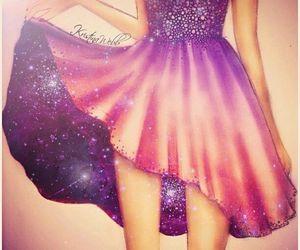 dress, drawing, and galaxy image