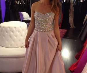 evening dresses, pink prom dress, and long prom dresses image