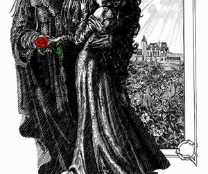 beauty and the beast, black and white, and drawings image