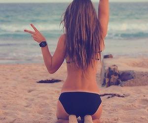 beach, bikini, and black image