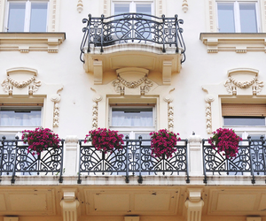 architecture, balcony, and flowers image