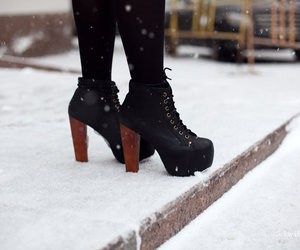 shoes, snow, and black image