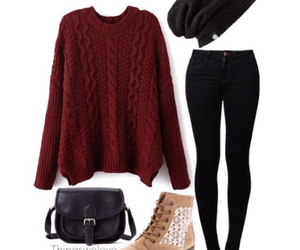 beanie, outfit, and sweater image