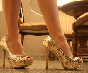 glamour, woman, and gold heels image