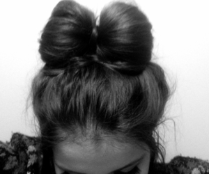 hair, bow, and black and white image