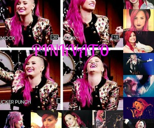 demi lovato, hair, and pink image