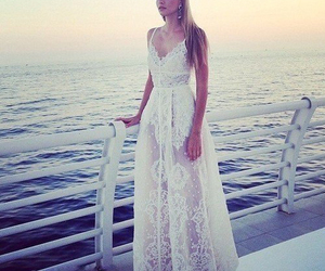 dress, sea, and white image