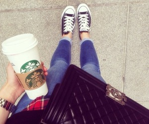outfit, starbucks, and girl image