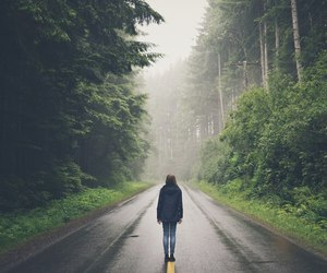 forest, girl, and road image