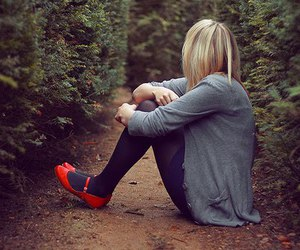 girl, blonde, and alone image