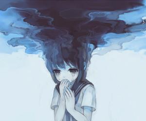 sad, blue, and anime image