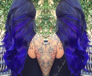 black hair, blue hair, and ombre hair image