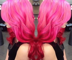 curly hair, hairdresser, and pink hair image