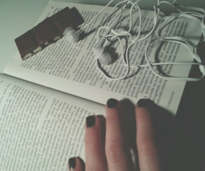 book, music, and chocolate image