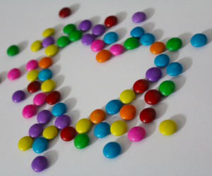 candy, colorful, and heart image