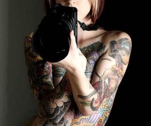 tattoo, girl, and camera image