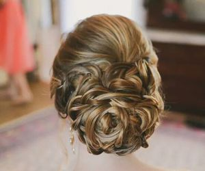 bride, hairstyle, and dress image
