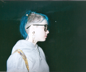 girl, blue hair, and glasses image