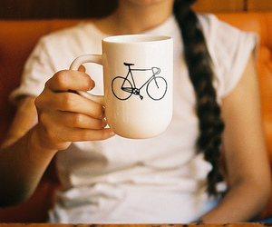 girl, cup, and bike image