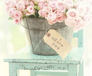 beautiful, flowers, and old chair image