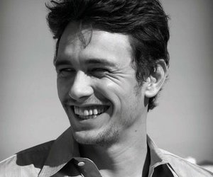 james franco, smile, and black and white image