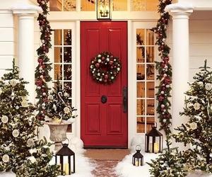 christmas, snow, and red image