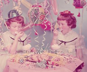 birthday party, ice cream, and retro image