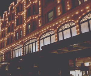 christmas, fairy lights, and harrods image