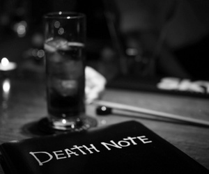 death note and black and white image