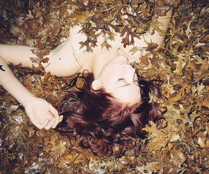 girl, leaves, and hair image