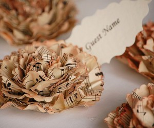 beauty, music, and paper rose image