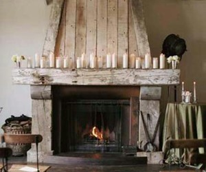 fireplace, candles, and home image