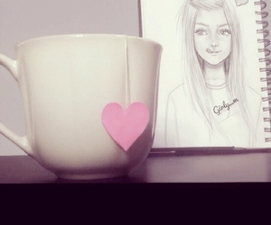 cup, girl, and pink image