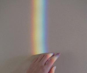 hand, pale, and rainbow image