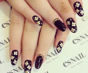 black, flowers, and nails image