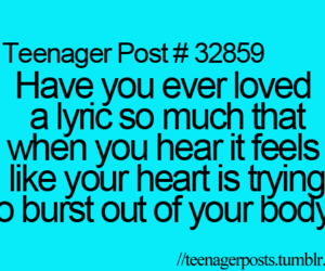 Lyrics, teenager post, and music image