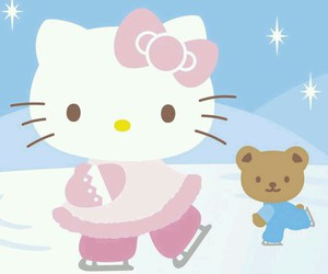 hello kitty, ice skating, and kawaii image