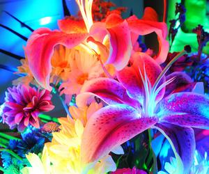 flowers, neon, and purple image
